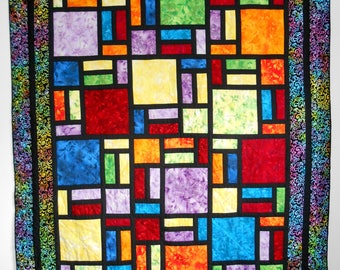 Stained Blossoms, stained glass quilt, twin quilt, twin size quilt, quilt, stained glass blanket, stained glass, twin size blanket, quilt