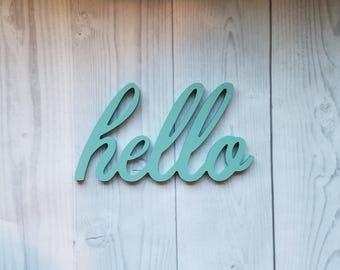 Hello Sign, Hello, Wood Hello Sign, Hello Wood Word, Hello Wood Cutout, Hello, Word Cutout, Gallery Wall Decor, Word Sign, Word Wall Decor