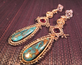 Stunning Brass Turquoise Earrings 3.5 inches long