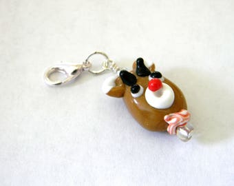 Reindeer Charm with Lobster Clasp Lampwork Glass