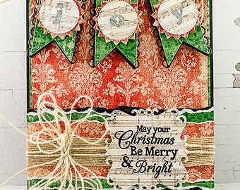 Joy Banner Merry & Bright Christmas Greeting Card