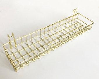 """Gold Basket Grid Panel, Wall Mount Hanging Organizer, Wire Metal Storage Shelf Rack Size 15.7"""" x 3.9"""" x 1.9""""/40 x 10 x 5 cm"""