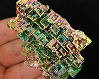 One (1) XL Rainbow Bismuth Crystal Display Mineral Specimen Education Teaching Metaphysical Therapy Reiki Metal Healing