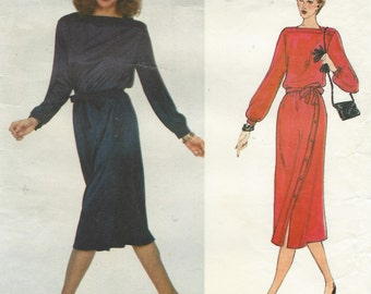 1970s Jerry Silverman Vogue Sewing Pattern 2245 Womens Pullover Side Buttoned Dress Size 12 Bust 34 UnCut Vogue American Designer