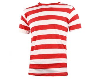 Men's Short Sleeve Red & White Striped Shirt