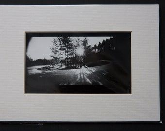Sunrise turn, Silver gelatin print Darkroom print Contact print, 6x12 cm copy, pinhole camera, Holga 120WPC, Back and white print