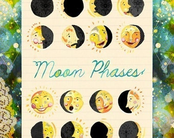 Moon Faces Art Print | Moon Phases Wall Art | Nursery Decor | Celestial Artwork | Katie Daisy | 8x10 | 11x14