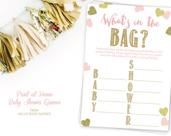 Pink and Gold Baby Shower Game . What's in the Bag Girl Baby Shower . DIY Printable . Instant Download . Baby Girl . Glitter Hearts Confetti