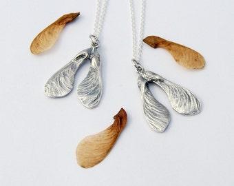 Samara necklace cast disamara maple seed sycamore pod necklace