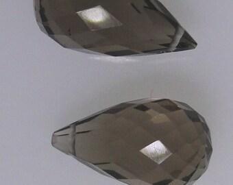 2 Smoky Quartz teardrop briolette faceted beads, 10 carats total                        068-005-014