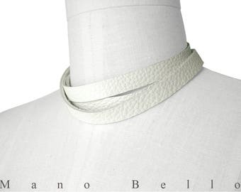 White Leather Wrap Necklace Scarf or Choker, Chalk White, Men or Women, Custom order to size