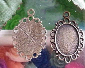 top: 13 x 18 mm support cabochon. 30 x 20 x 2 mm, hole: 2 mm antique bronze