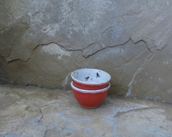 Teeny Wee Bowls Set of 2 - Handmde Stoneware Ceramic Pottery - Watermelon Red and White - Fly - 3 ounces