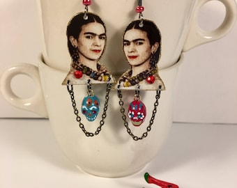 Frida Kahlo Earrings Mexican Painter Modern Art Mexico Diego Rivera Surrealism