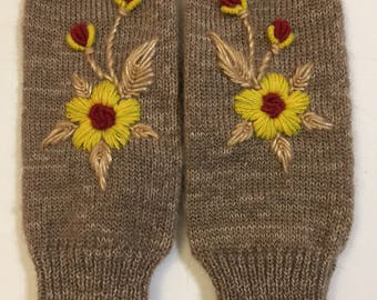 Knitted Mittens Embroidered Mittens Brown Wool Mittens Handmade Women Gloves
