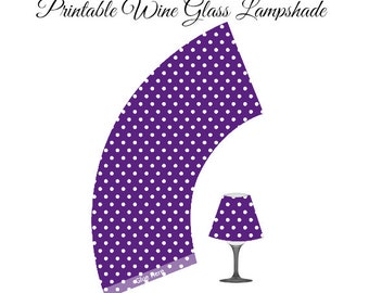 Purple Polka Dot Printable Lampshade, Wine Glass Lampshade, DIY Party, Paper Lampshade, Wine Glass Lamp, Lamp Shade, Polka Dot Party Decor