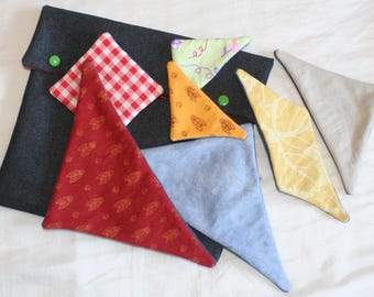 Tangram in fabric and matching pouch - puzzle fabric