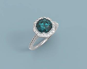 White Gold Alexandrite Halo Engagement Ring Alexandrite Ring White Gold Alexandrite Diamond Ring Alexandrite Ring Halo