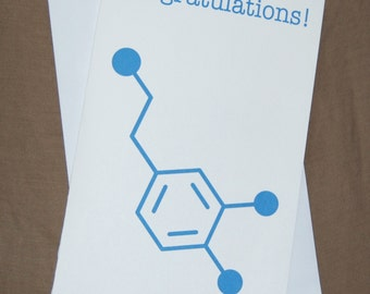 Dopamine - Congratulations - Chemistry Nerd Greeting Card - Blue SALE 25% OFF