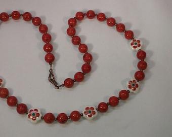 Sponge Coral Necklace,  Orange Necklace, Flower Beads, Antique Copper