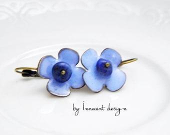 Cornflower- enamel earrings - flower - burgundy-rose