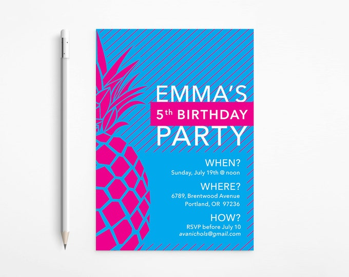 PRINTABLE - Fuschia & Blue Pineapple Birthday Invitation - Modern - Stripes - Pink - Turquoise - Aqua - Patterned - Free changes