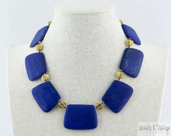"Lapis Lazuli ""Rectangle"" Statement Necklace with Hill Tribe Vermeil, High Quality Unpolished Lapis,  One-of-a-Kind Blue Lapis Lazuli Jewelry"