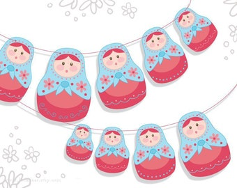 Printable Matryoshka Nesting Dolls Banner, PDF Download for Scrapbooking, Party Decorations, Finger Puppets and more