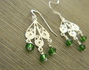 Sterling Silver Filigree Feather Drop Earrings Chandelier Earrings with Green Glass Beads