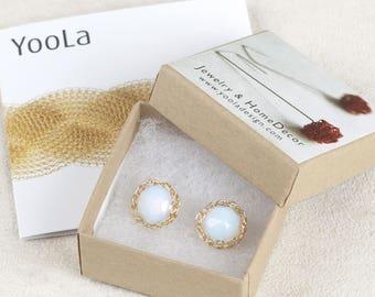 Oplaite Stud Earrings, White Post Earrings, Gold earrings, Gold Stud Earrings, Gift for her, Unique Bridesmaids Gift,  Unique Stud Earrings