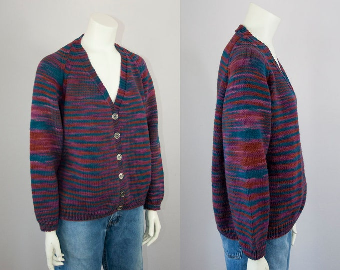 70s Vintage Handmade Space Dyed Cardigan. Hand Knit Sweater (S, M)