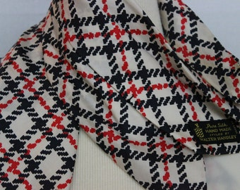 Vintage Walter Handley Pure Silk Hand Made Ascot Cravat Plaid Red White and Blue Election Party Attire Caucus Accessory Patriotic