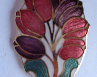 Fabulous Vintage Signed Fish and Crown Cloisonne Flowers Brooch/Pin