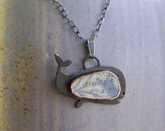 Pottery Shard jewelry - Whale Pendant with Silver Chain
