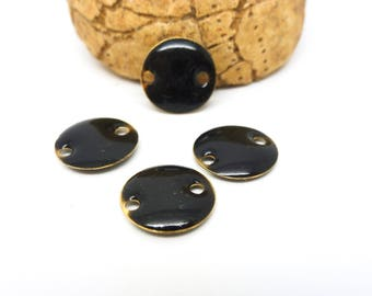 4 sequins connectors round 12mm enamel black (PMSQ01)