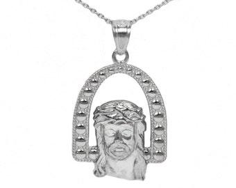 14k White Gold Jesus Necklace