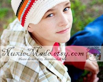 Stripe Newsboy Hat 5T-Preteen, Boys Crochet Hat, Childrens Hat, Hat with Brim, Boys Stripes Hat, Boy Hat, Winter Hat Beanie, Crochet Newsboy