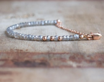 Labradorite Bracelet, Gift for Wife, Rose Gold Bracelet, Silver Bracelet, Gemstone Bracelet, Beaded Bracelet, Labradorite Jewelry, Mom Gift