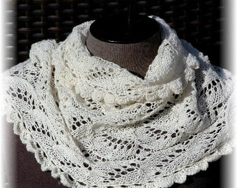 """Cashmere Lace Cowl / Infinity Scarf for Women / Ladies """"Lasqueti Island"""", hand knit in pure Cashmere READY TO SHIP"""