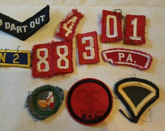Lot of Vintage 6 Boy Scout and 2 Cub Scout Patches Assorted, Plus 1 Dart Team and 1 Army