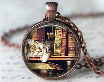 Book Necklace - Library Cat Book Worm Necklace Book Necklace Book Lovers Librarian Jewelry Literary Jewelry Gift For Cat Lovers