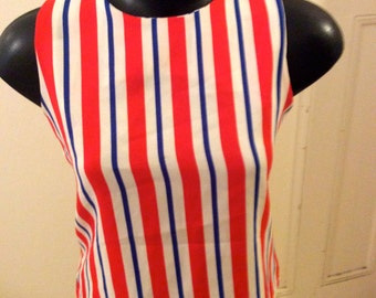 Vintage 90s does 60s 70s Red White and Blue Striped Tank Top Sz S M Aus 8 10 US 4 6 Chillshops