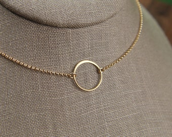 Medium gold circle link and gold filled necklace, tiny circle necklace, infinity necklace, simple gold necklace, gold ring