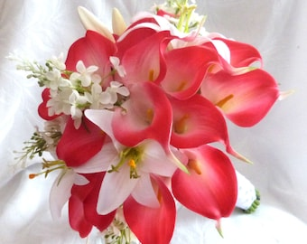 Fuchsia red Calla lily white lily and lilac wedding bouquet Real touch mini fuchsia red calla lily bridal bouquet