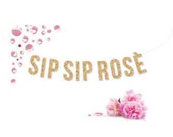 SIP SIP ROSÉ gold glitter garland