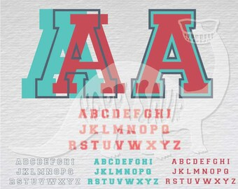 Sporty Varsity Font download clipart layered cutting files screen print die cut decal vinyl cutter cricut silhouette svg dxf eps jpeg format