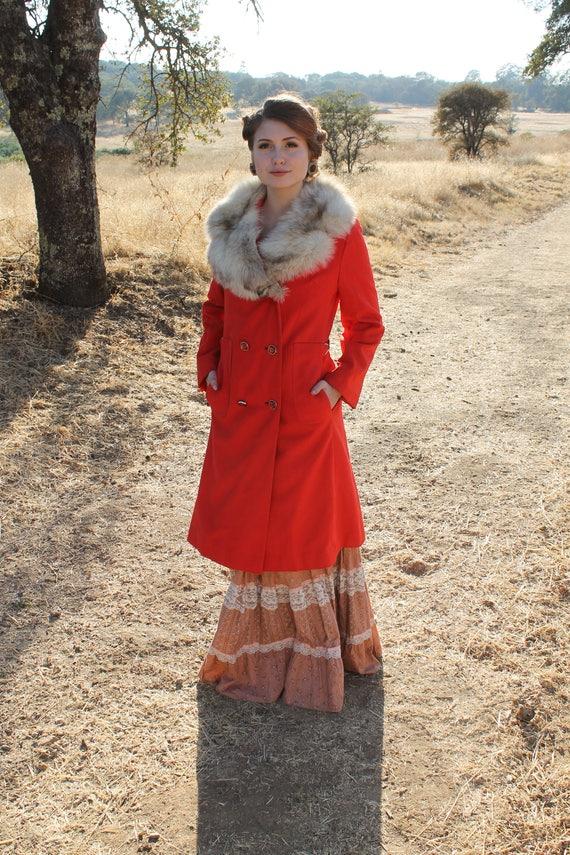 PERSIMMON Vintage 1960's Mod Orange Pea Coat Fur Collar
