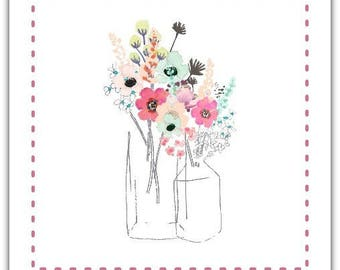 Flowers card with envelope 15cm x 15cm