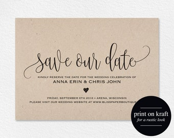 Save the Date Template, Save our Date Card, Save the Date Printable, Wedding Printable, Rustic Wedding, PDF Instant Download #BPB203_2