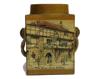 Mid Century Ceramic Cookie Jar with English Pub Illustration and Rope Handle. The George Inn Norton St. Philip. Tea Caddy.
